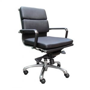 Office Chairs Australia | Polo Comfort Medium Back in Black Bonded Leather