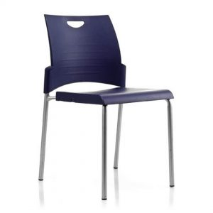 Office Chairs Australia | Buro Pronto 4 Leg Stackable Chair Blue