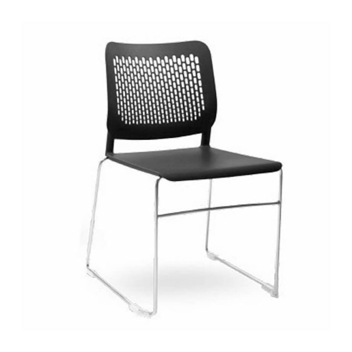 Office Chairs Australia | Morika Sled Base Stackable Chair Black