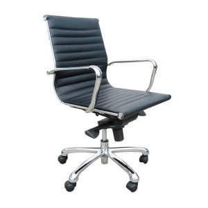 Office Chairs Australia | Polo Medium Back in Black Bonded Leather