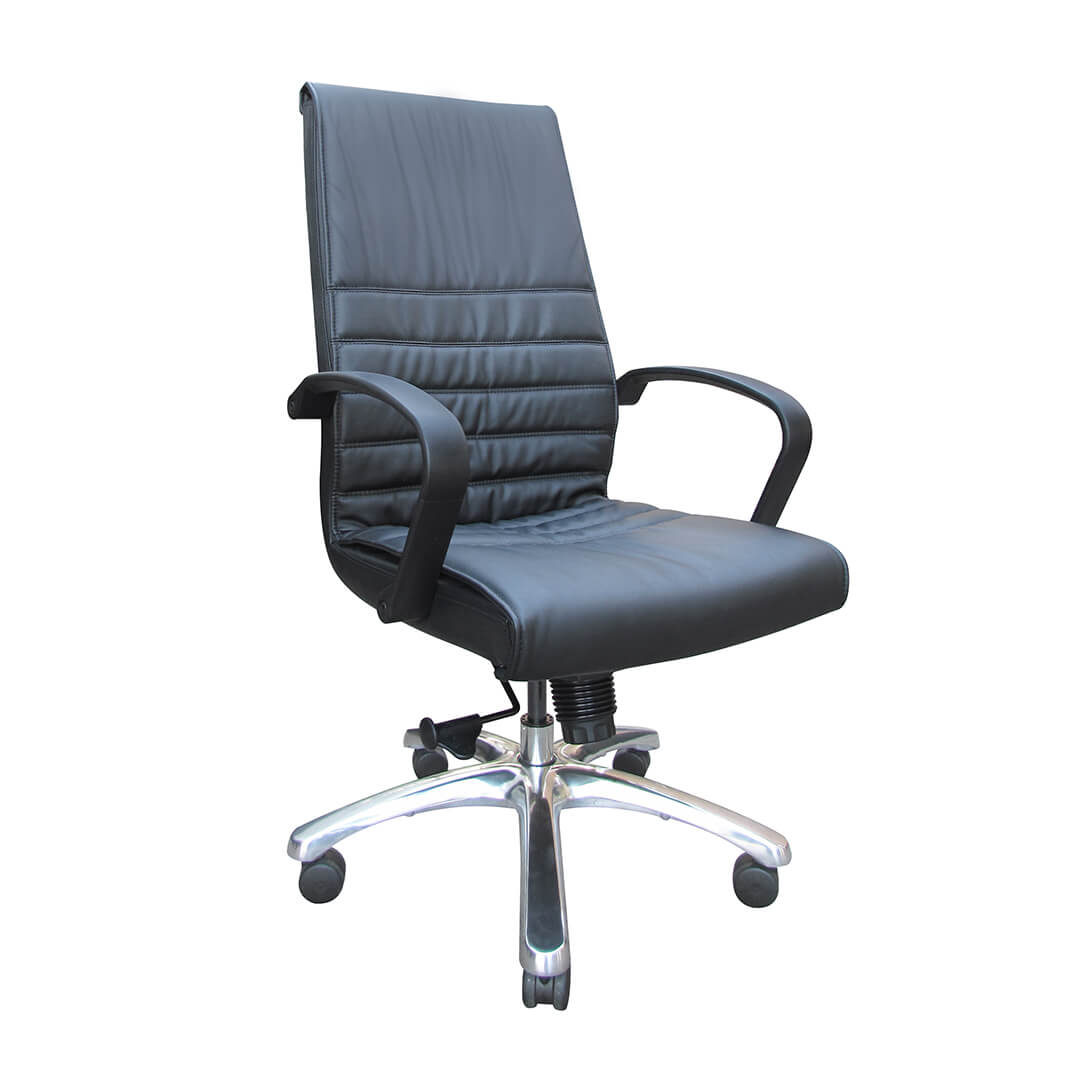 president high back in black bonded leather the chairman