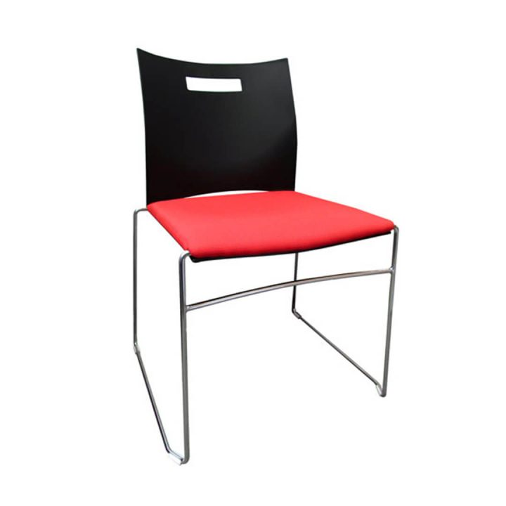 Office Chairs Australia | Uno Stackable Chair Plastic Back with Upholstery Seat